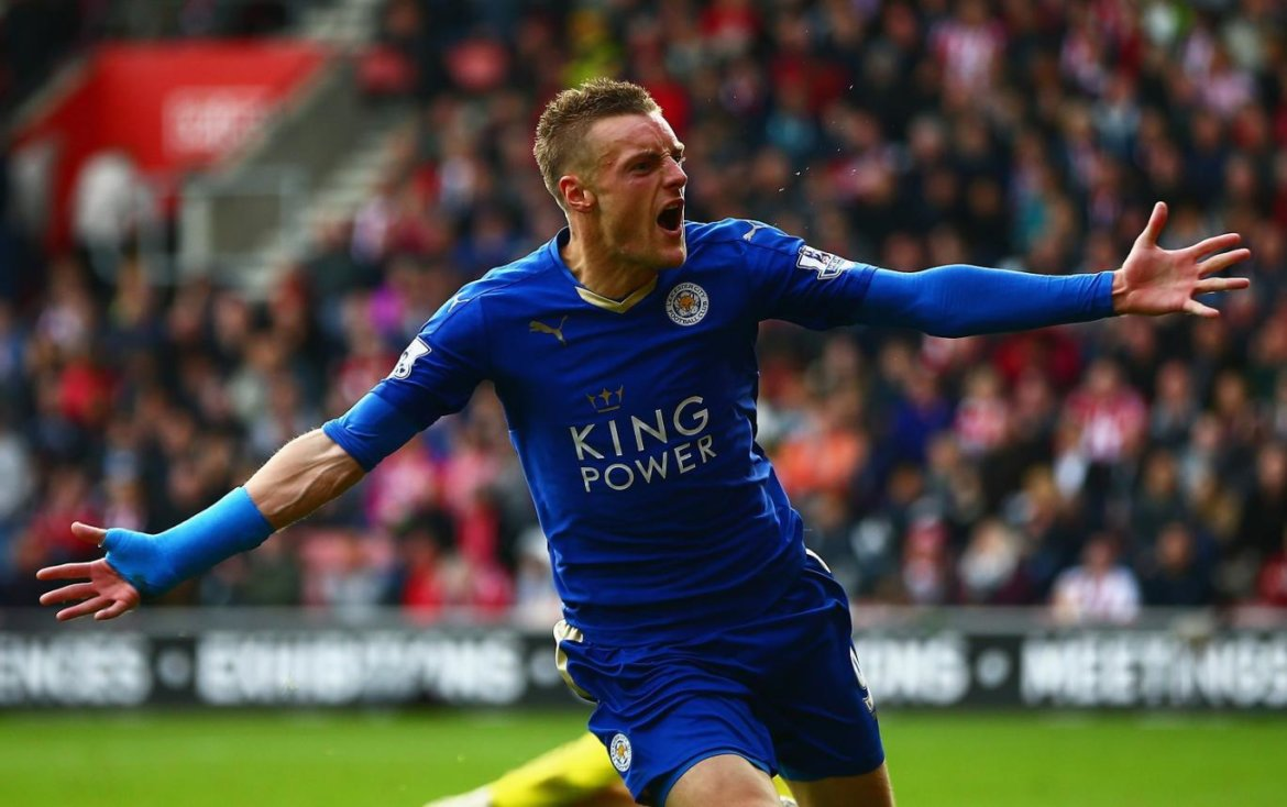 Vardy-celebrates goal against Liverpool