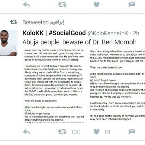 A twitter user warns Abuja residents about a certain Benhellip