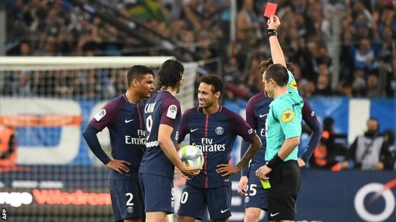 neymar s red card costs psg 3 points marseille unlucky