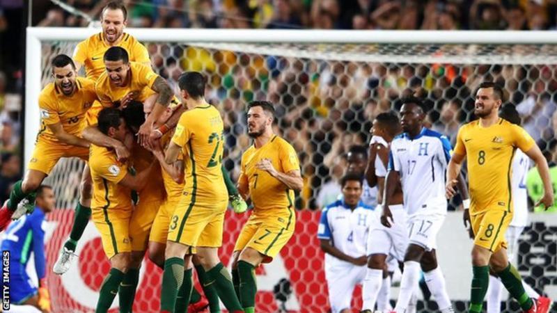 australia celebrate world cup