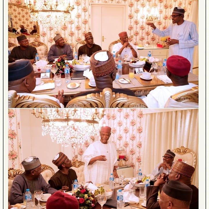 President Muhammadu Buhari on Thursday night hosted principal officers of the All Progressives Congress APC