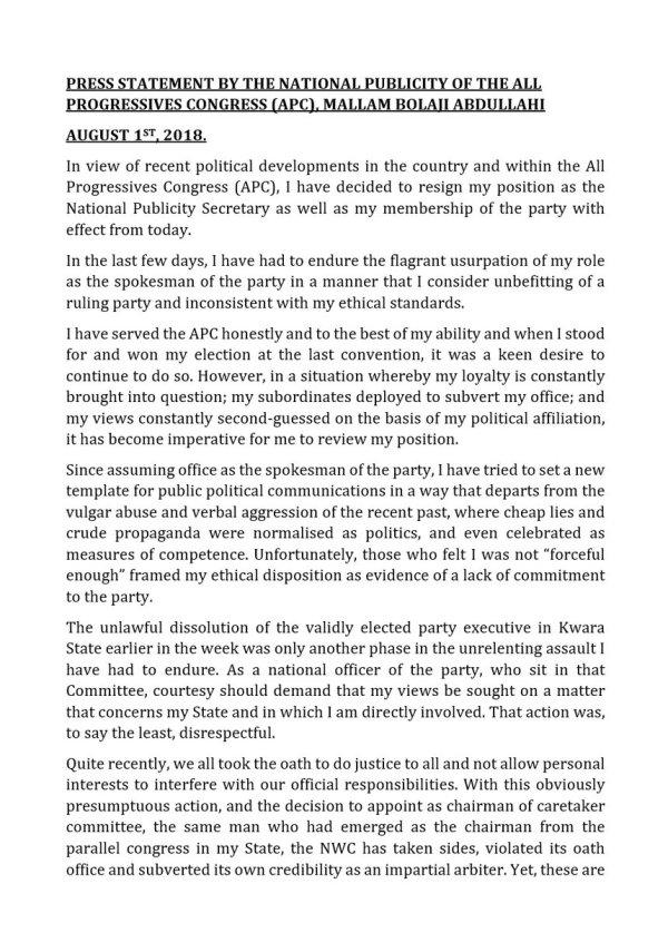 Bolaji resignation letter