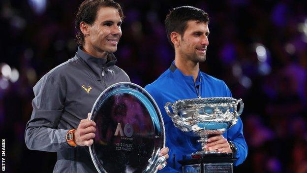Djokovic, Nadal, trophy,