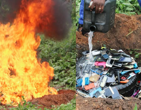 burnt phones, Ibadan Poly