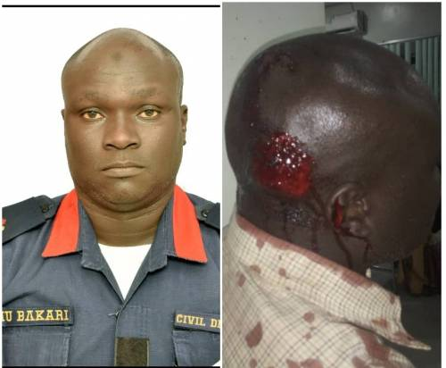 NSCDC Officer, Usman Bakari before and after Borno incident,