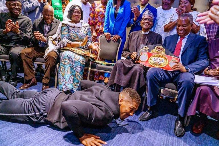 Anthony Joshua, President Muhammad Buhari,