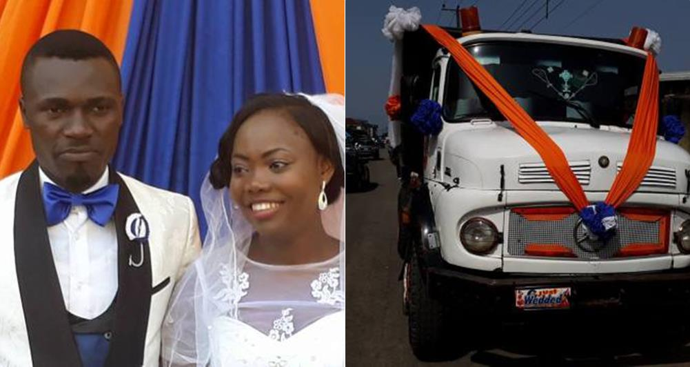 Newly Married Nigerian Couple Use Tipper To Transport Themselves To